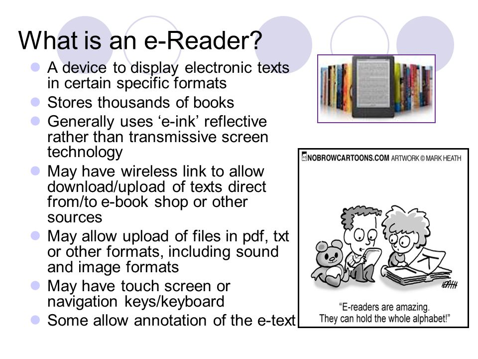 How to choose the e-reader application May be constrained by your choice of e-reader or source of documents Often still a choice Search Online for e-reader reviews Try them out, be systematic Top application until recently was Stanza Destroyed by IOS5 upgrade Stanza