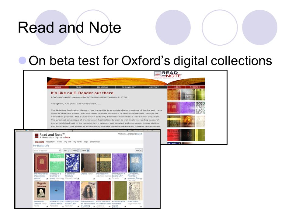 Read and Note On beta test for Oxford's digital collections