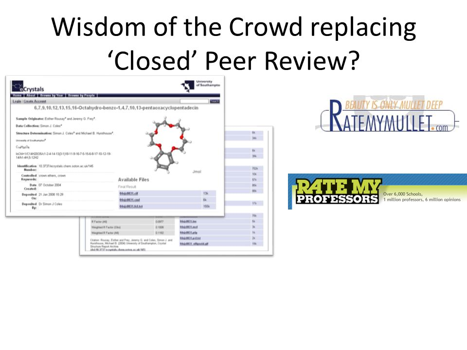 Wisdom of the Crowd replacing 'Closed' Peer Review?