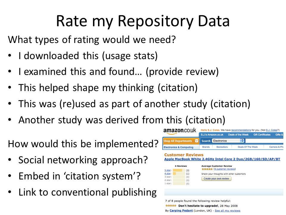 Rate my Repository Data What types of rating would we need.