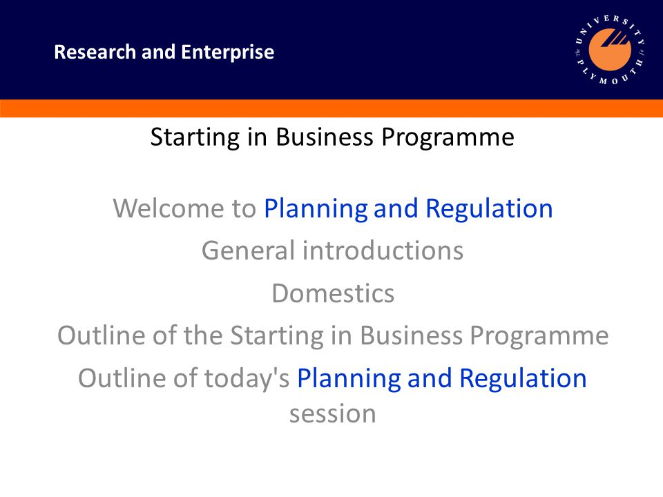 Research and Enterprise Planning and Regulation Small Business- what does it mean.