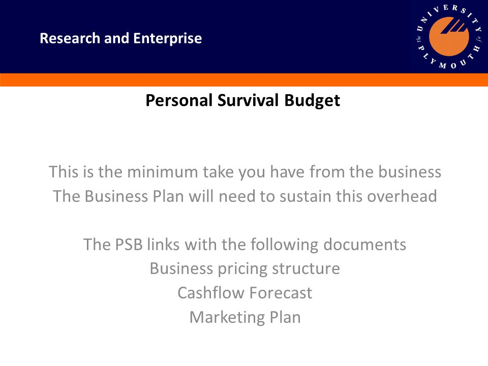 Research and Enterprise Personal Survival Budget This is the minimum take you have from the business The Business Plan will need to sustain this overh