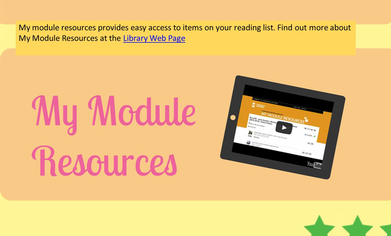 My module resources provides easy access to items on your reading list. Find out more about My Module Resources at the Library Web PageLibrary Web Pag