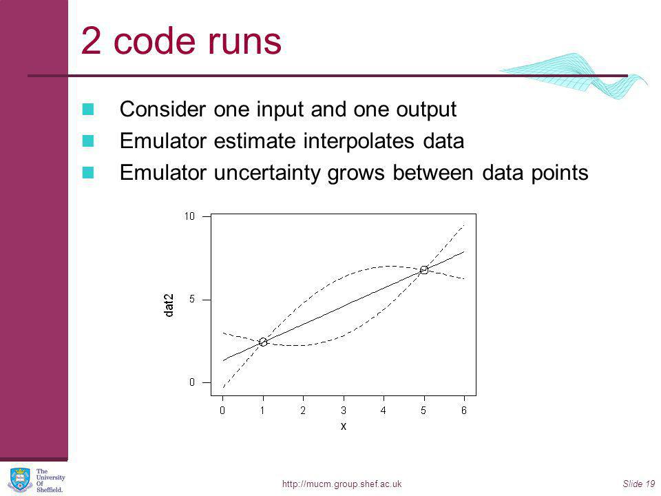 http://mucm.group.shef.ac.ukSlide 19 2 code runs Consider one input and one output Emulator estimate interpolates data Emulator uncertainty grows between data points