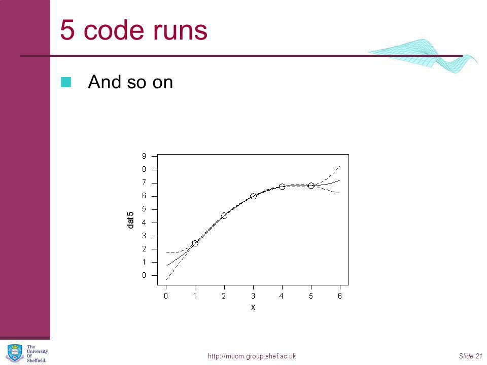 http://mucm.group.shef.ac.ukSlide 21 5 code runs And so on