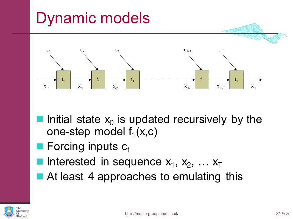 http://mucm.group.shef.ac.ukSlide 26 Dynamic models Initial state x 0 is updated recursively by the one-step model f 1 (x,c) Forcing inputs c t Interested in sequence x 1, x 2, … x T At least 4 approaches to emulating this XTXT X0X0 c1c1 f1f1 X1X1 c2c2 f1f1 X2X2 c3c3 f1f1 X T-2 c T-1 f1f1 X T-1 cTcT f1f1