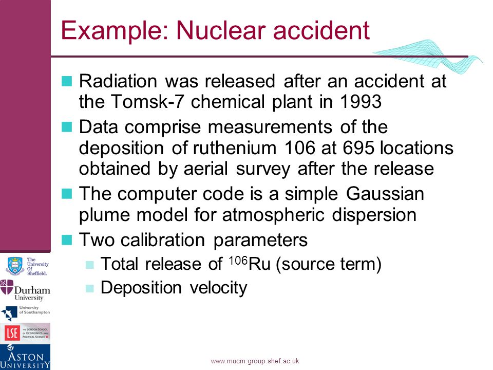 www.mucm.group.shef.ac.uk Example: Nuclear accident Radiation was released after an accident at the Tomsk-7 chemical plant in 1993 Data comprise measurements of the deposition of ruthenium 106 at 695 locations obtained by aerial survey after the release The computer code is a simple Gaussian plume model for atmospheric dispersion Two calibration parameters Total release of 106 Ru (source term) Deposition velocity