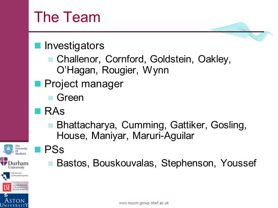www.mucm.group.shef.ac.uk The Team Investigators Challenor, Cornford, Goldstein, Oakley, O'Hagan, Rougier, Wynn Project manager Green RAs Bhattacharya, Cumming, Gattiker, Gosling, House, Maniyar, Maruri-Aguilar PSs Bastos, Bouskouvalas, Stephenson, Youssef