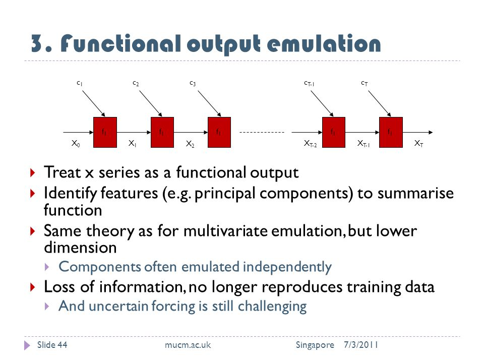 3. Functional output emulation 7/3/2011mucm.ac.uk SingaporeSlide 44  Treat x series as a functional output  Identify features (e.g. principal compon