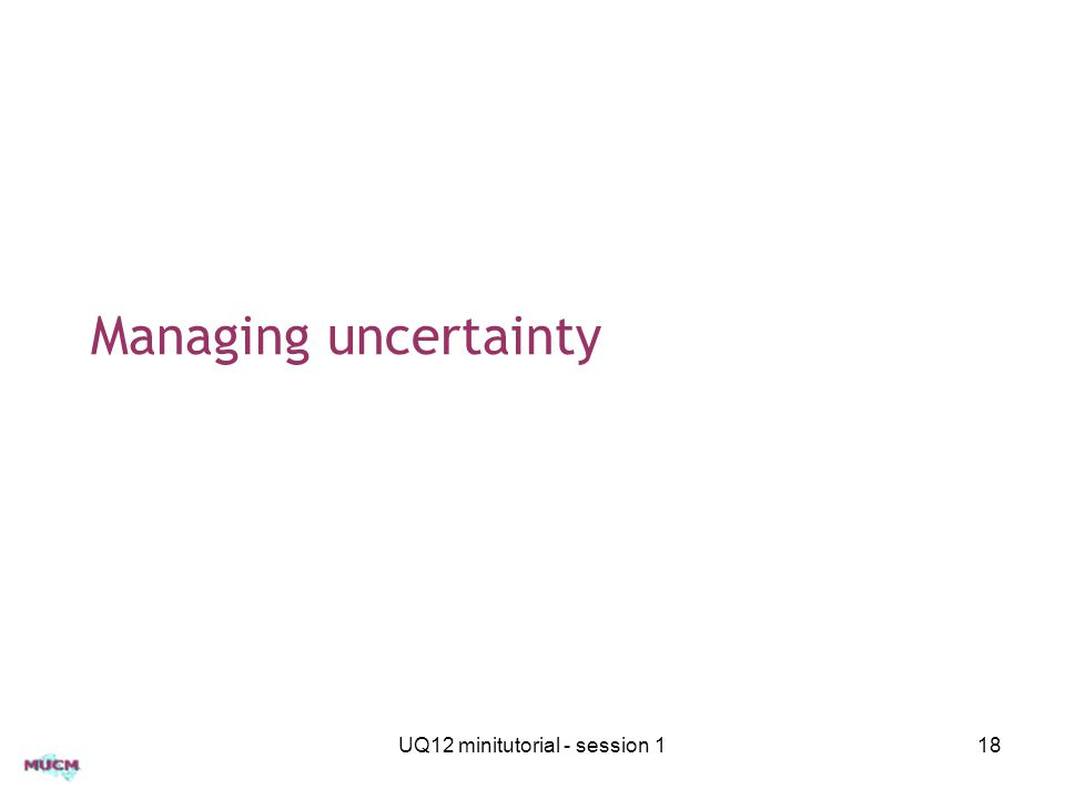 Managing uncertainty UQ12 minitutorial - session 118