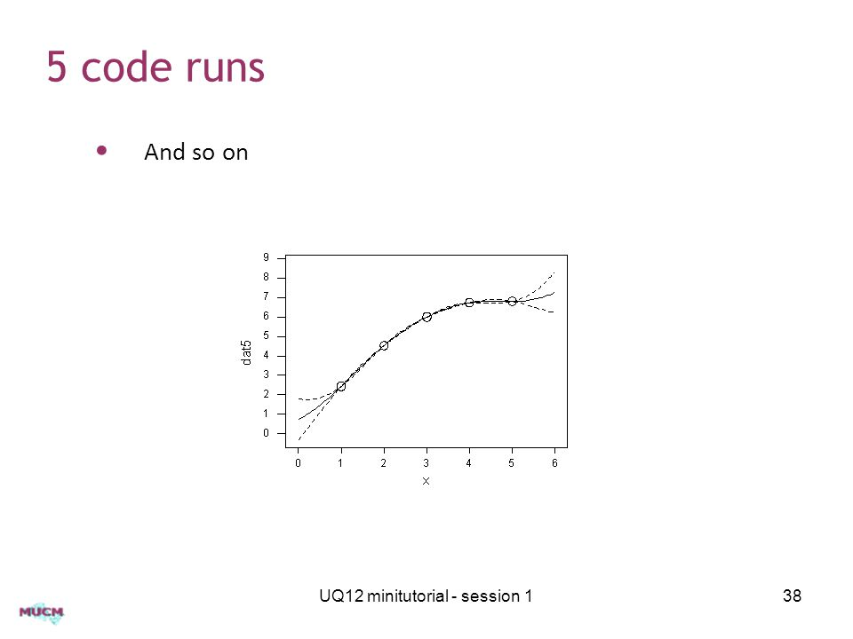5 code runs UQ12 minitutorial - session 138 And so on