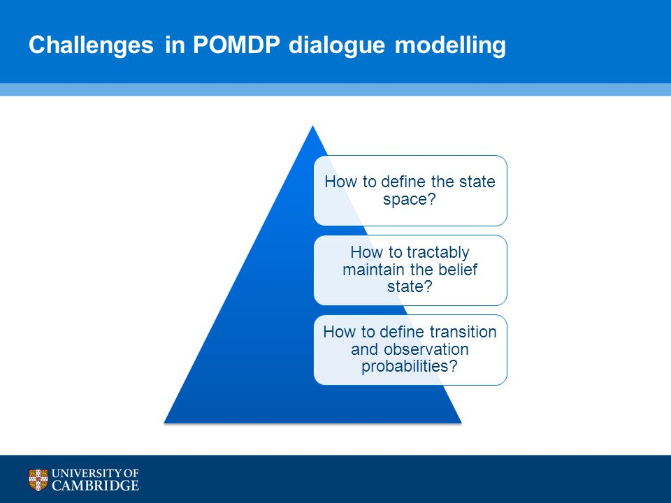 Challenges in POMDP dialogue modelling How to define the state space.