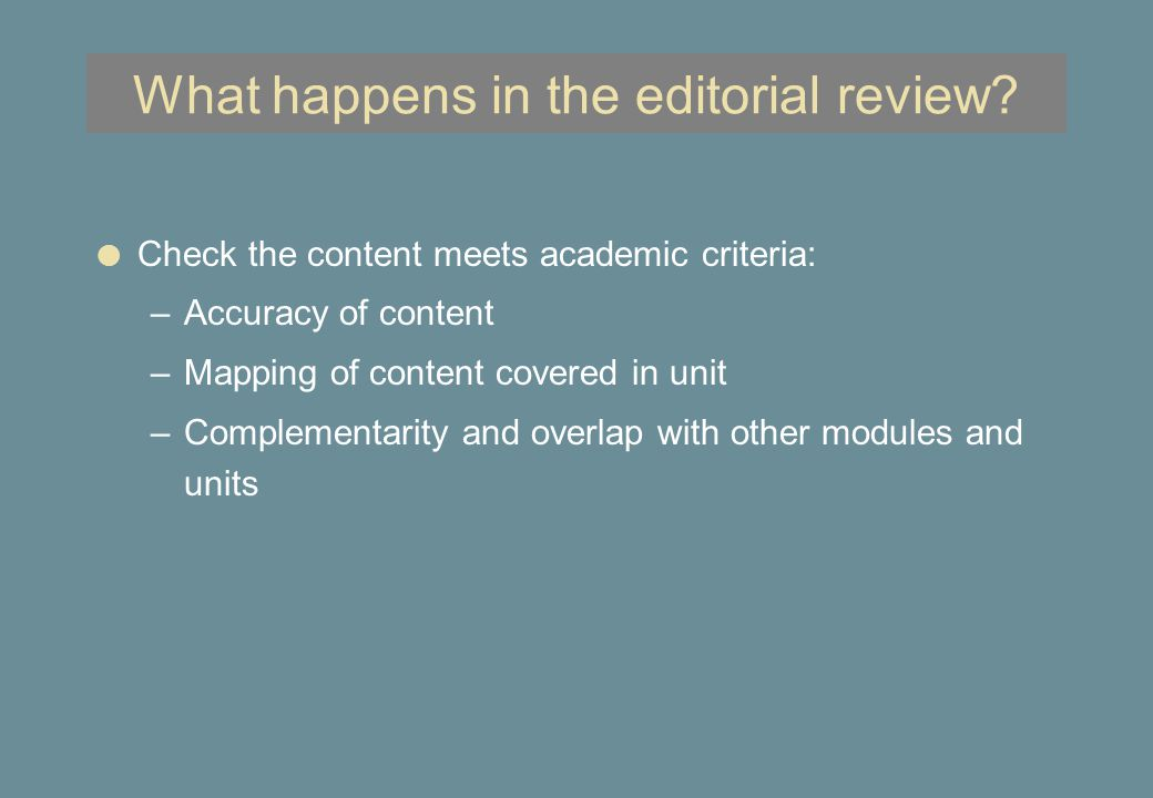 What happens in the editorial review.