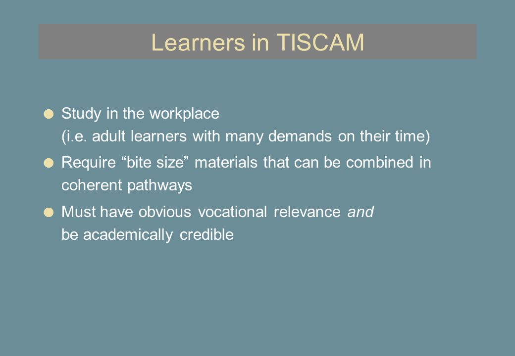 Learner support in TISCAM l Tutors (online advice, guidance, marking - content experts) l In-company mentors (helping learners complete work- based activities) l Regional facilitators (general advice on choice of courses, studying, etc.)