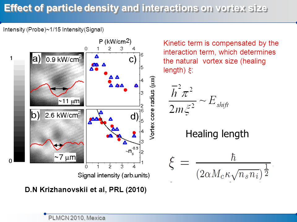 PLMCN 2010, Mexica Effect of particle density and interactions on vortex size Kinetic term is compensated by the interaction term, which determines th