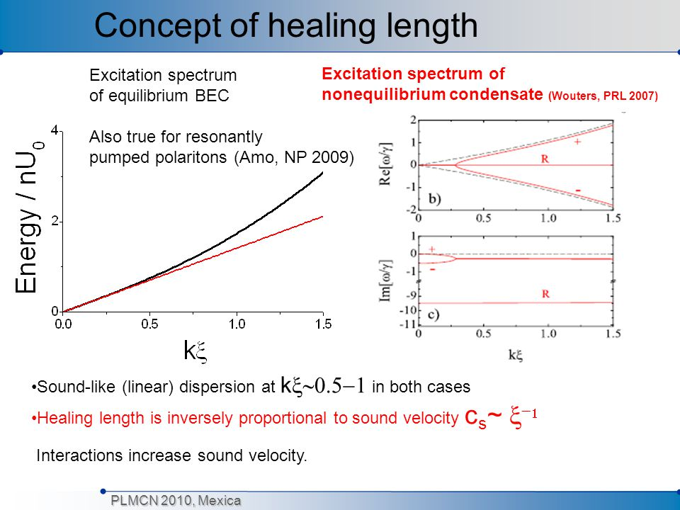 PLMCN 2010, Mexica Excitation spectrum of equilibrium BEC Also true for resonantly pumped polaritons (Amo, NP 2009) Excitation spectrum of nonequilibr