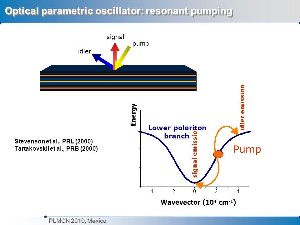 PLMCN 2010, Mexica Optical parametric oscillator: resonant pumping Pump signal emission idler emission Lower polariton branch Wavevector (10 4 cm -1 )