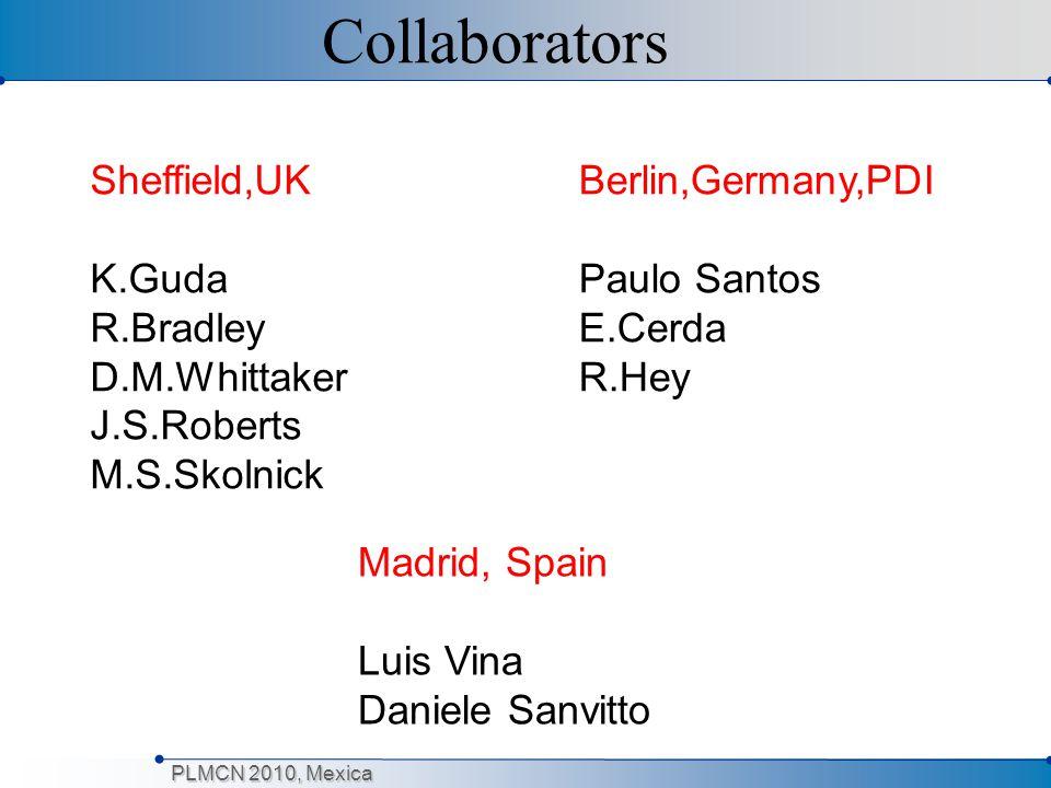 PLMCN 2010, Mexica Collaborators Sheffield,UK K.Guda R.Bradley D.M.Whittaker J.S.Roberts M.S.Skolnick Berlin,Germany,PDI Paulo Santos E.Cerda R.Hey Ma