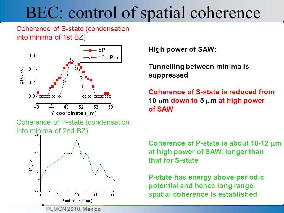 PLMCN 2010, Mexica BEC: control of spatial coherence High power of SAW: Tunnelling between minima is suppressed Coherence of S-state is reduced from 1