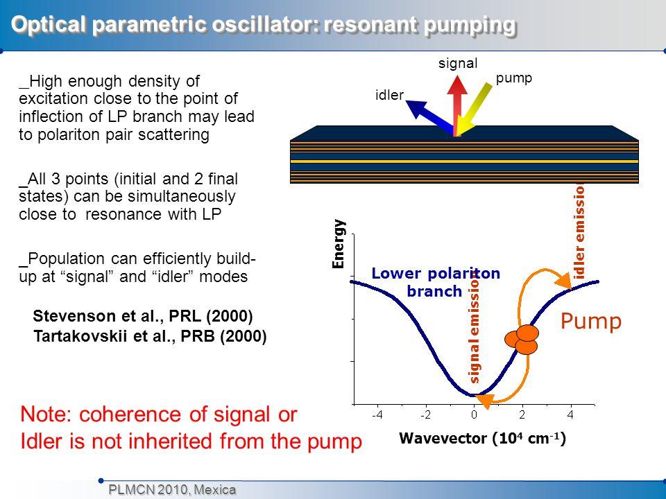 PLMCN 2010, Mexica Polariton condensation in CdTe: nonresonant pumping Kasprzak et al, Nature 2006 Kasprzak et al, Nature 2006 Boltzman distribution for higher energy polaritons.