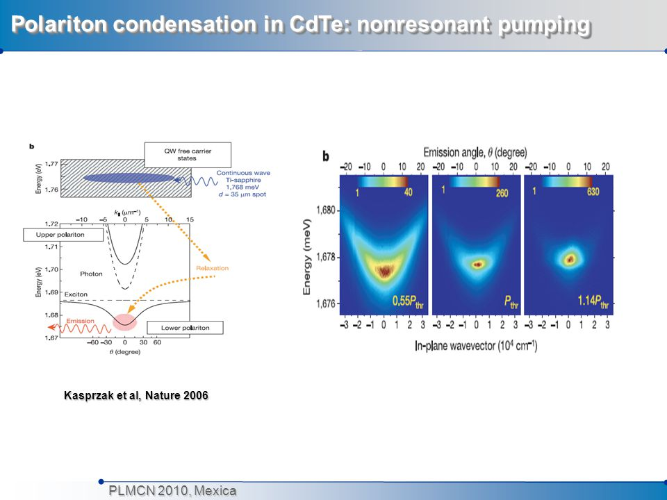 PLMCN 2010, Mexica Polariton condensation in CdTe: nonresonant pumping Kasprzak et al, Nature 2006 Kasprzak et al, Nature 2006