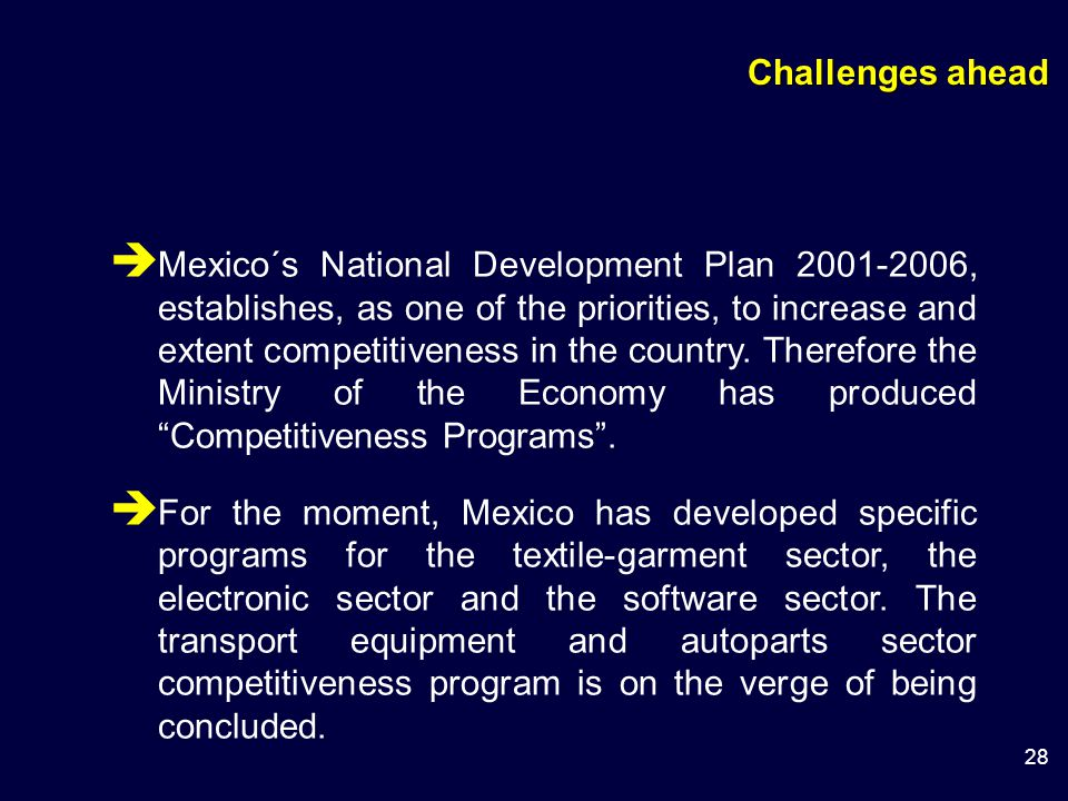 28  Mexico´s National Development Plan 2001-2006, establishes, as one of the priorities, to increase and extent competitiveness in the country.