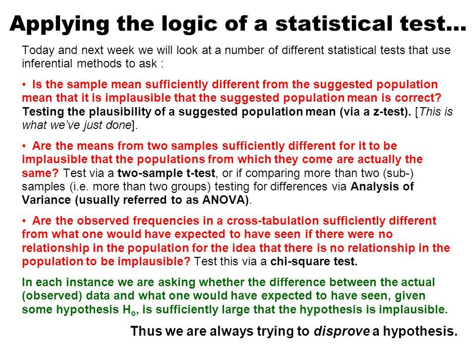 Applying the logic of a statistical test… Today and next week we will look at a number of different statistical tests that use inferential methods to