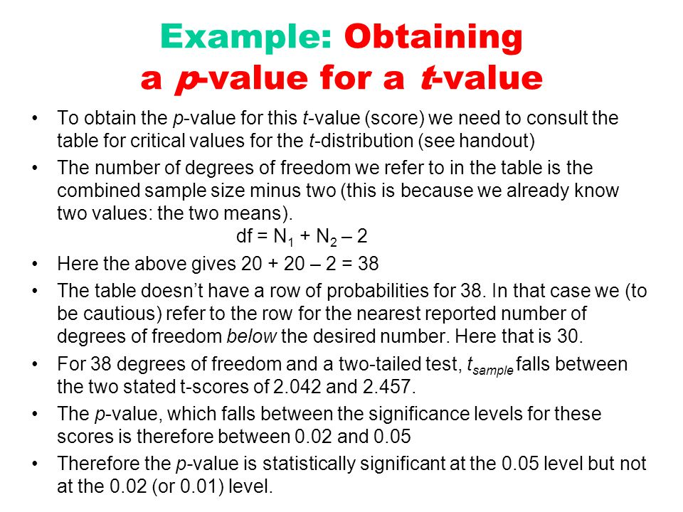 Example: Obtaining a p-value for a t-value To obtain the p-value for this t-value (score) we need to consult the table for critical values for the t-d