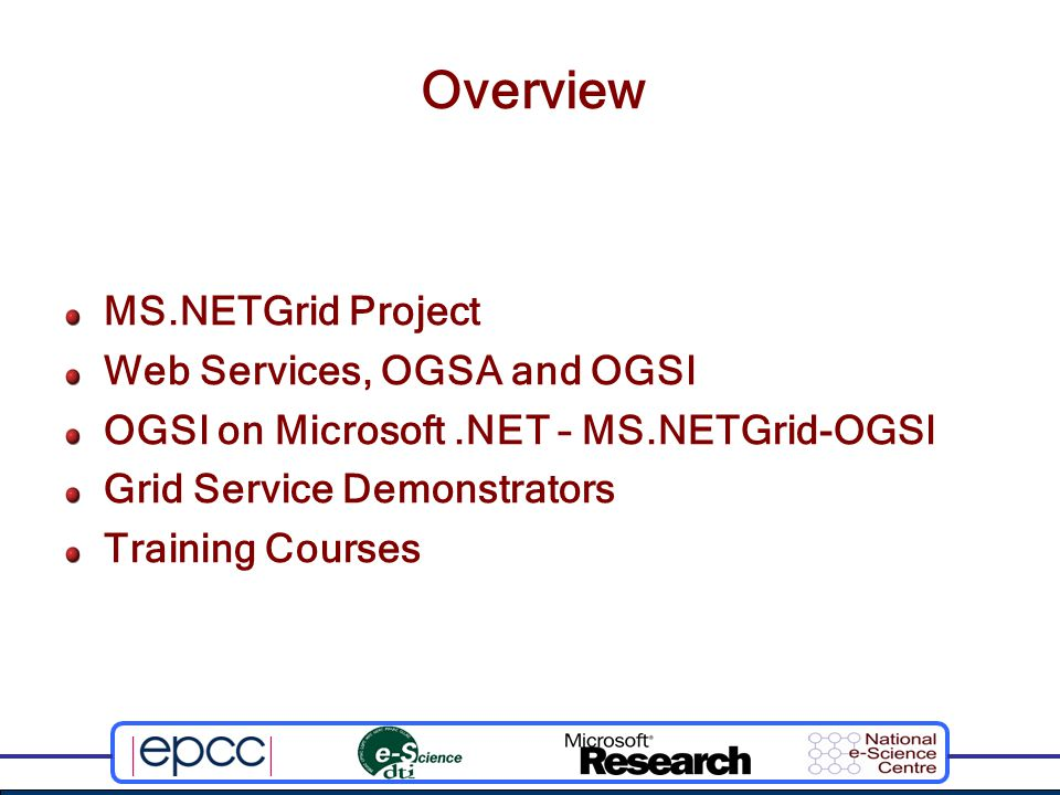 Anatomy of a Grid Service Hosting Environment Implementation Service Data Access Lifetime Management Other PortTypes (Optional) Service Creation Service Grouping Notification Handle Resolution Other functions e.g: Workflow Auditing Resource Management Element Service Data Set Handle GridService portType (required)