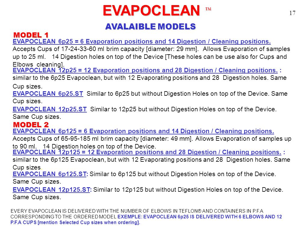 EVAPOCLEAN TM EVAPOCLEAN TM AVALAIBLE MODELS EVAPOCLEAN 6p25 = 6 Evaporation positions and 14 Digestion / Cleaning positions. Accepts Cups of 17-24-33
