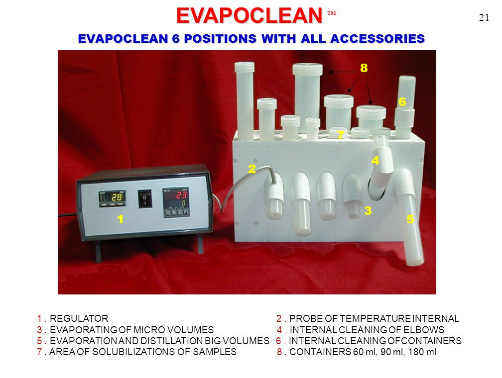 1 2 3 4 5 6 7 EVAPOCLEAN TM EVAPOCLEAN TM 8 EVAPOCLEAN 6 POSITIONS WITH ALL ACCESSORIES 1. REGULATOR 2. PROBE OF TEMPERATURE INTERNAL 3. EVAPORATING O