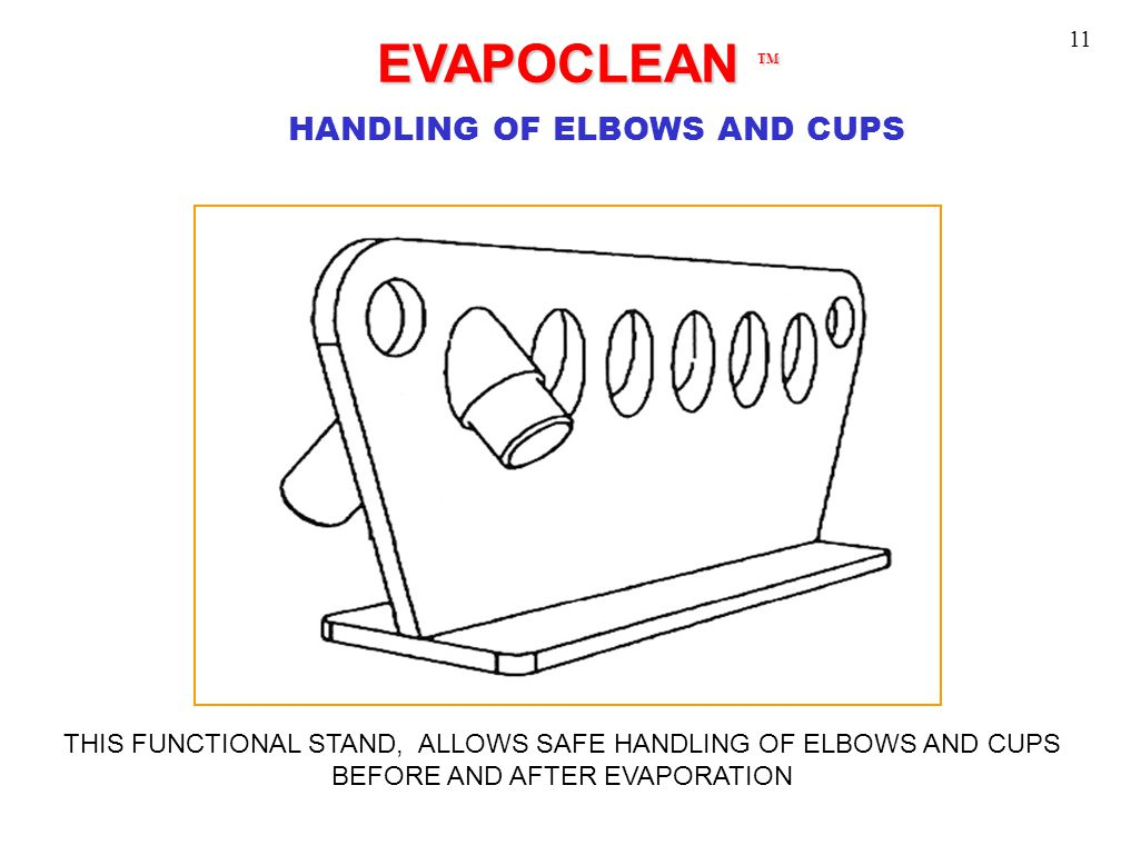 EVAPOCLEAN TM EVAPOCLEAN TM HANDLING OF ELBOWS AND CUPS THIS FUNCTIONAL STAND, ALLOWS SAFE HANDLING OF ELBOWS AND CUPS BEFORE AND AFTER EVAPORATION 11