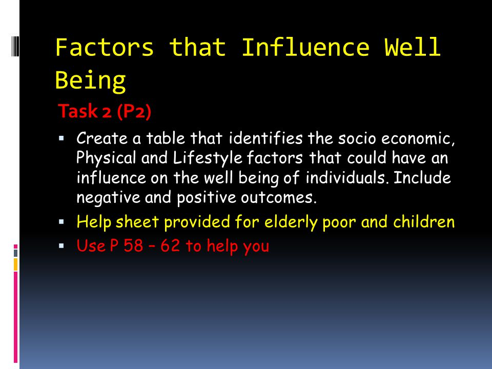 Factors that Influence Well Being Task 2 (P2)  Create a table that identifies the socio economic, Physical and Lifestyle factors that could have an i