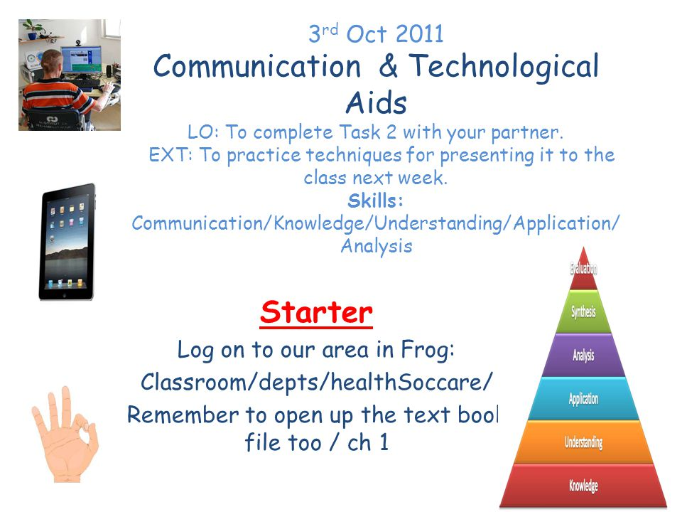 3 rd Oct 2011 Communication & Technological Aids LO: To complete Task 2 with your partner.
