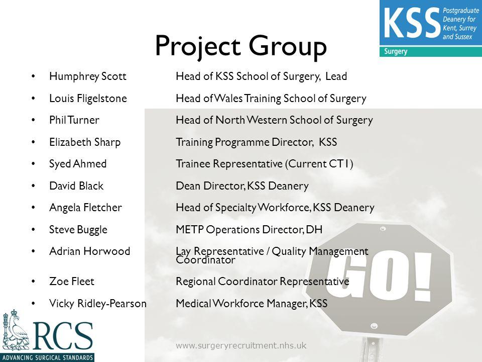 Project Group Humphrey ScottHead of KSS School of Surgery, Lead Louis Fligelstone Head of Wales Training School of Surgery Phil TurnerHead of North We