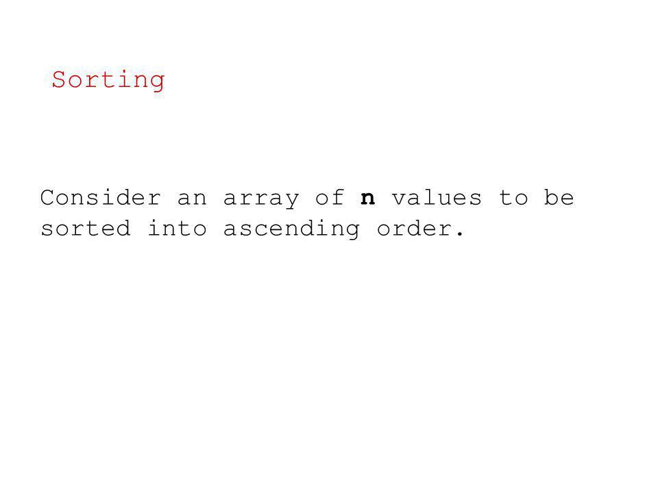 Consider an array of n values to be sorted into ascending order. Sorting