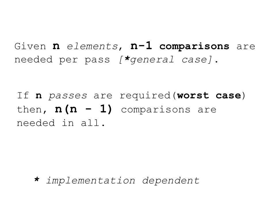 Given n elements, n-1 comparisons are needed per pass [*general case].