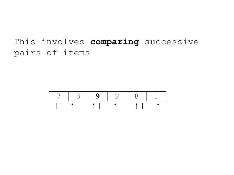 This involves comparing successive pairs of items 719283