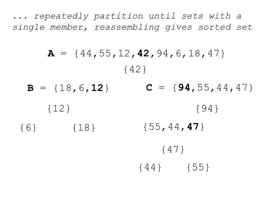 A = {44,55,12,42,94,6,18,47} B = {18,6,12} C = {94,55,44,47} {42} {6}{18} {12}{94} {55,44,47} {47} {44}{55}...