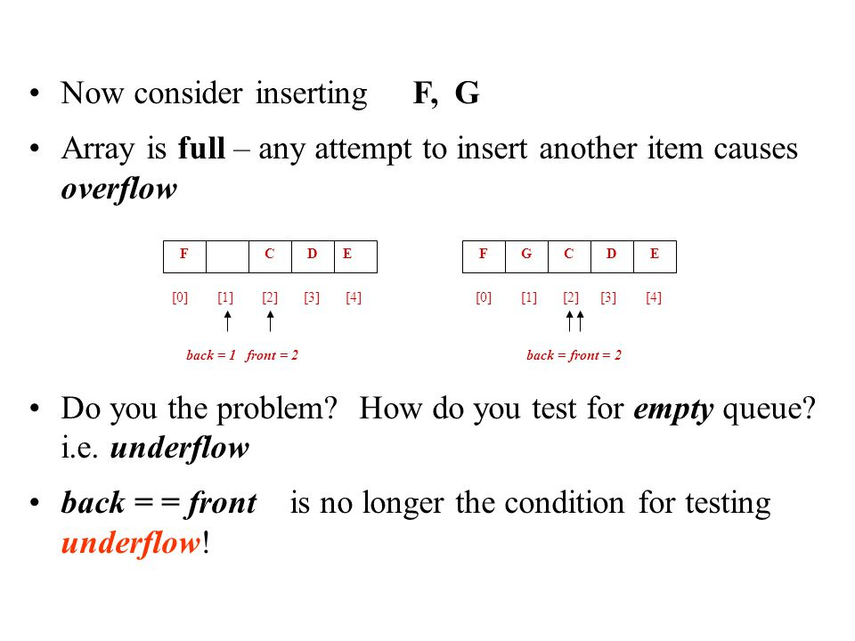 Now consider inserting F, G Array is full – any attempt to insert another item causes overflow Do you the problem? How do you test for empty queue? i.