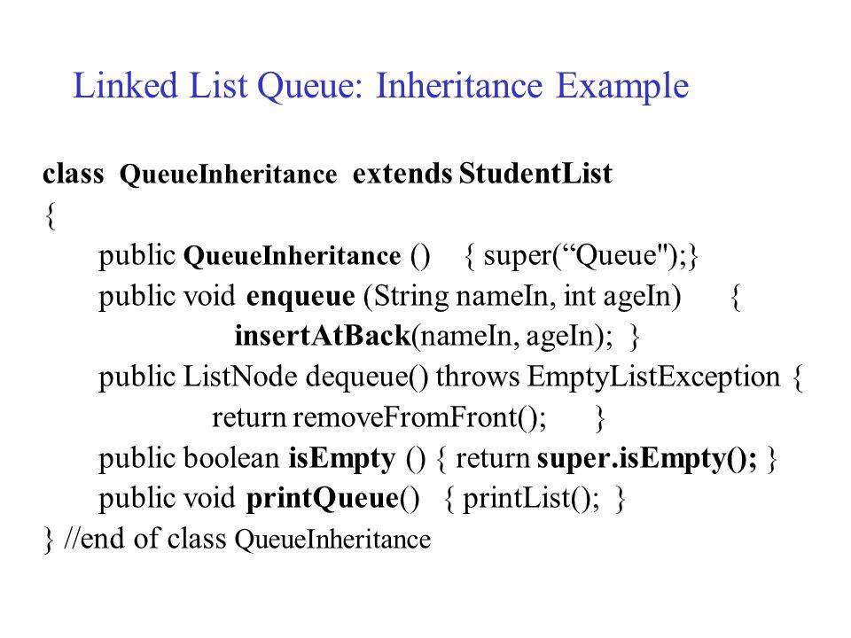 "class QueueInheritance extends StudentList { public QueueInheritance () { super(""Queue"