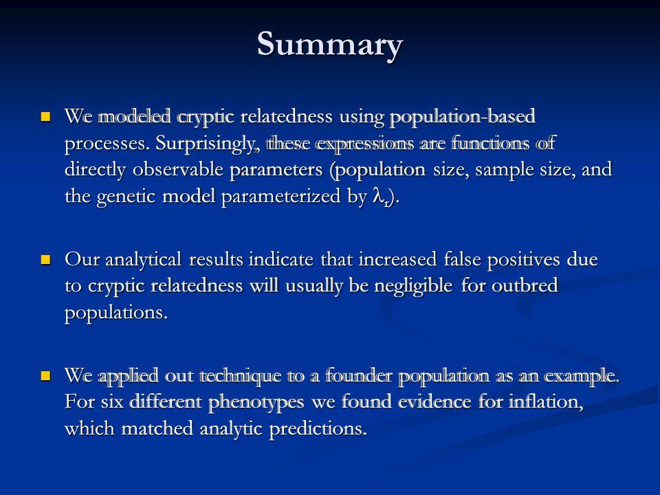 We modeled cryptic relatedness using population-based processes.