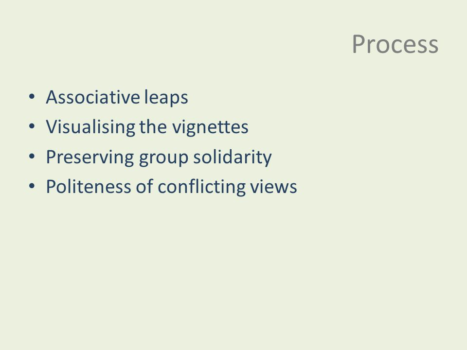 Process Associative leaps Visualising the vignettes Preserving group solidarity Politeness of conflicting views