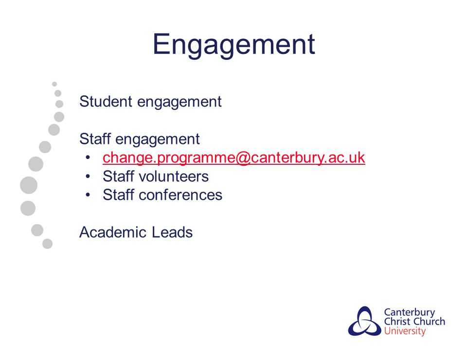 Engagement Student engagement Staff engagement change.programme@canterbury.ac.uk Staff volunteers Staff conferences Academic Leads