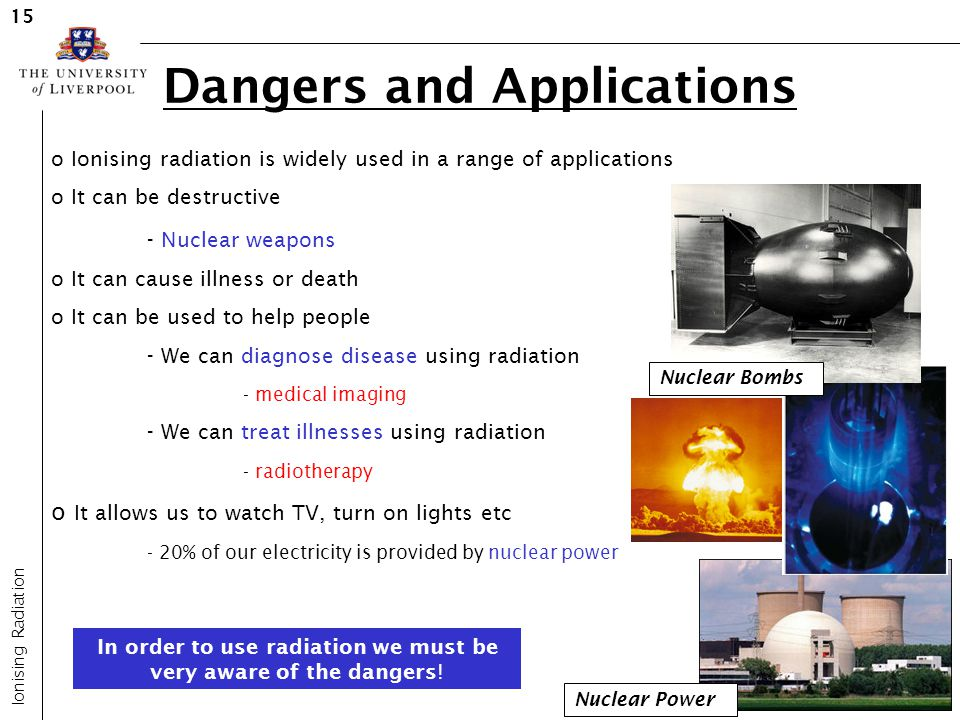 Dangers and Applications Ionising Radiation 15 o Ionising radiation is widely used in a range of applications o It can be destructive - Nuclear weapon