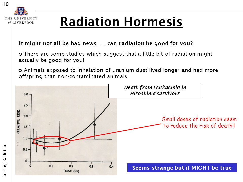 Radiation Hormesis Ionising Radiation 19 It might not all be bad news……can radiation be good for you? o There are some studies which suggest that a li