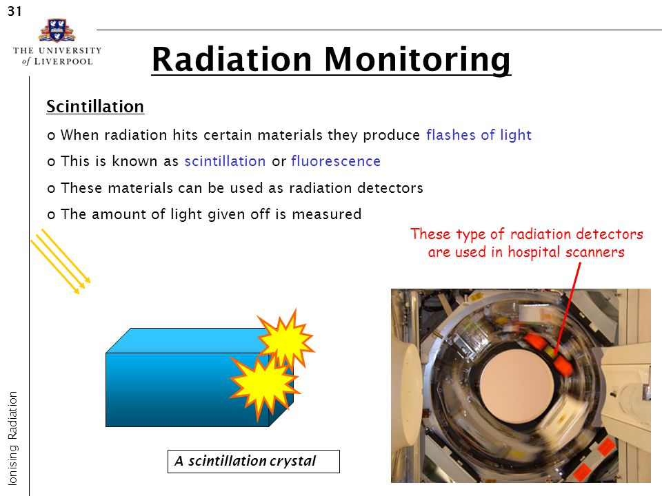 Radiation Monitoring Ionising Radiation 31 Scintillation o When radiation hits certain materials they produce flashes of light o This is known as scin