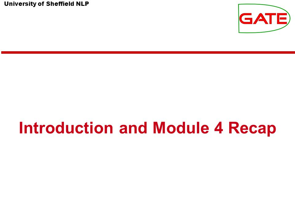 University of Sheffield NLP Introduction and Module 4 Recap