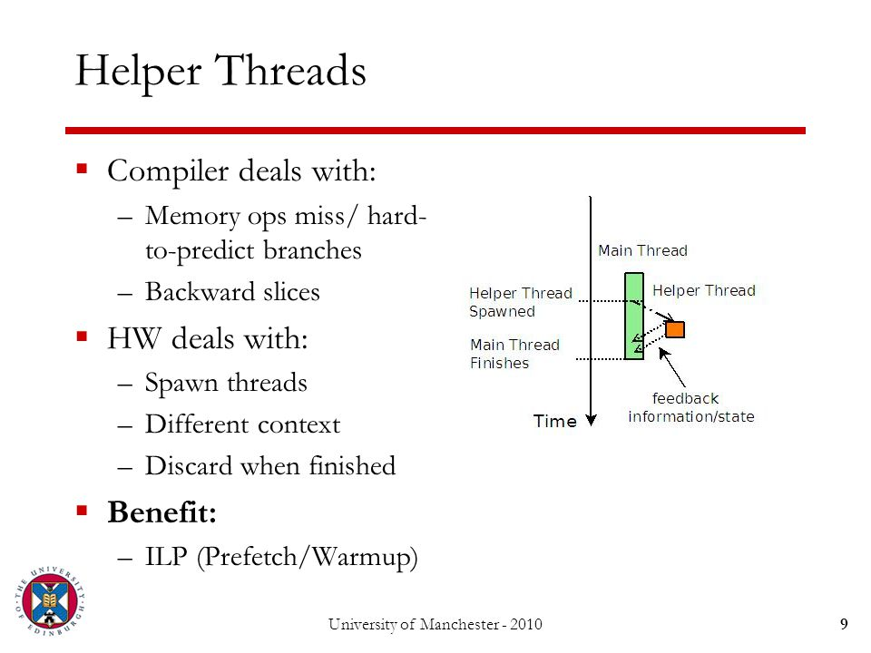 RunAhead Execution  Compiler deals with: –Nothing  HW deals with: –Different context –When to do RA –VP Memory –Commit/Discard  Benefit: –ILP (Prefetch/Warmup) University of Manchester - 201010