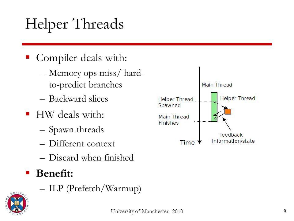 University of Manchester - 201030 Experimental Setup  Simulator, Compiler and Benchmarks: –SESC (http://sesc.sourceforge.net/)http://sesc.sourceforge.net/ –POSH (Liu et al.